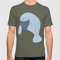 Silly Bearded Manatee Mens Fitted Tee Lieutenant SMALL