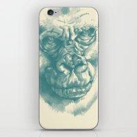Gorilla Sketch in blue iPhone & iPod Skin