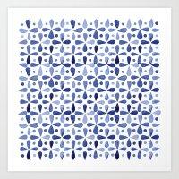 Imperfect Geometry Blue Petal Grid  Art Print