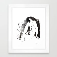 Nude male with vase and flowers Framed Art Print