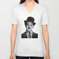 Chaplin portrait - Fingerprint Unisex V-Neck