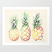 Burlap Pineapples Art Print