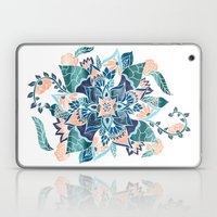 Modern coral blue watercolor floral illustration  Laptop & iPad Skin