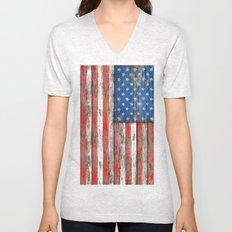 USA Vintage Wood Unisex V-Neck