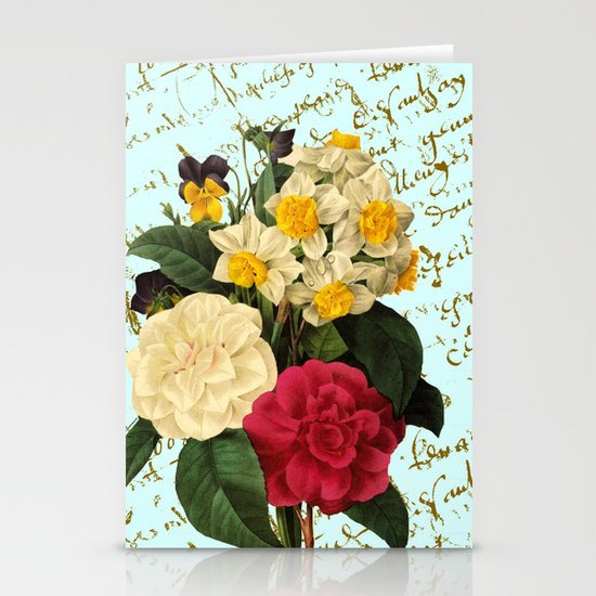 Botanical French Script Stationery Card