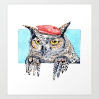 Serious Horned Owl in Red Beret  Art Print