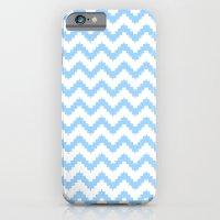 iPhone & iPod Case featuring funky chevron blue pattern by ravynka