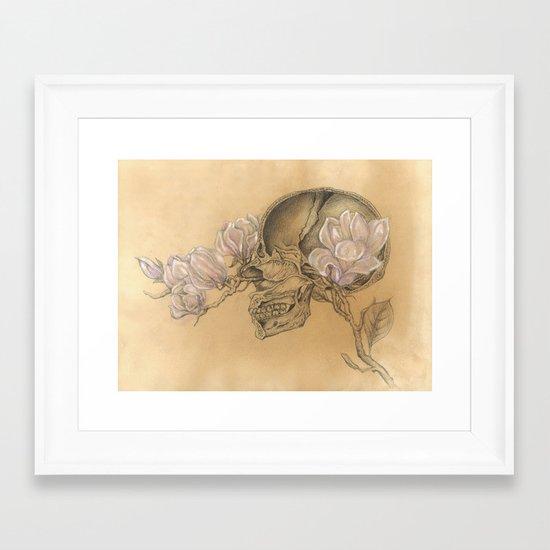 HUMAN NATURE Anatomy Series Number 1 - Skull & Magnolia Flowers Framed Art Print