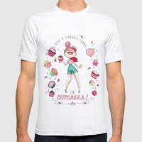 Cupcakes Mens Fitted Tee Ash Grey SMALL