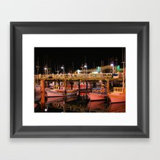 Harbor Reflection at Night Framed Art Print