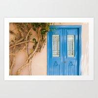 Blue Door in Chania, Crete Art Print
