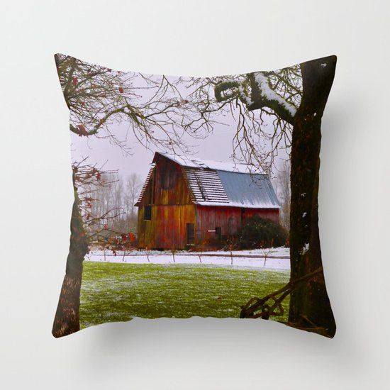 Remnants of a Simpler Time - The Barn Throw Pillow
