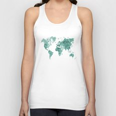 World map in watercolor green Unisex Tank Top