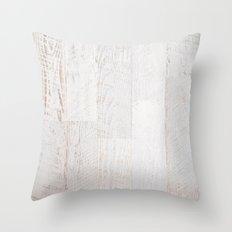 Vintage White Wood Throw Pillow