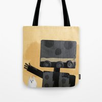 Happy Robot Happy Cat Tote Bag