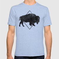 Bison & Blue Mens Fitted Tee Tri-Blue SMALL