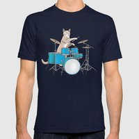 Cat Playing Drums - Blue Mens Fitted Tee Navy SMALL