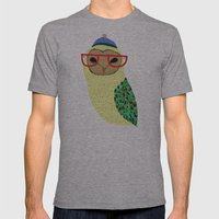 I Love Owls Mens Fitted Tee Athletic Grey SMALL