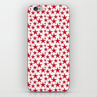 Red stars on white background illustration iPhone & iPod Skin