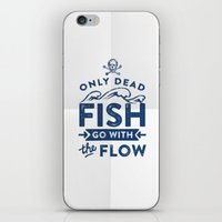 Only The Dead Fish Go Wi… iPhone & iPod Skin