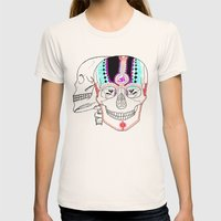 Rainbow Skulls Womens Fitted Tee Natural SMALL