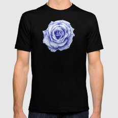 Ballpoint Blue Rose Mens Fitted Tee Black SMALL