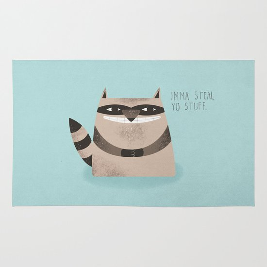 Sneaky Raccoon Area & Throw Rug