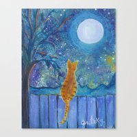 Cat On A Fence In The Mo… Canvas Print