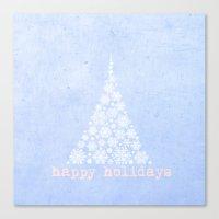 Blue Happy Holidays Chri… Canvas Print