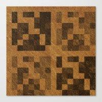 Wood Pixel Blocks Canvas Print