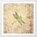 Dragonfly Floral Art Print