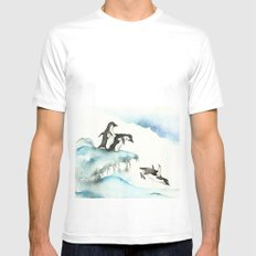 Jumping Penguins - Watercolor White SMALL Mens Fitted Tee