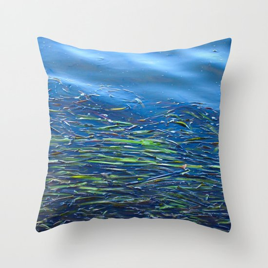 Blues and Greens Throw Pillow