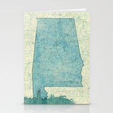 Alabama State Map Blue V… Stationery Cards