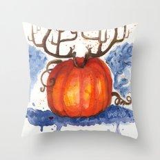 Deer Pumpkin Throw Pillow