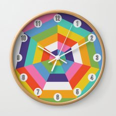Heptagon Quilt 4 Wall Clock