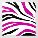 Black and Hot Pink Zebra Stripes Print Canvas Print