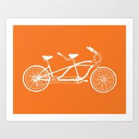 Tandem Bike Orange Art Print