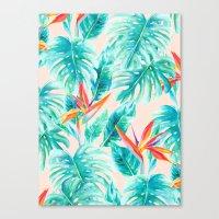 Tropical Paradise Pale Peach Canvas Print