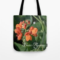 bright orange bean flowers. garden vegetable plant photography. Tote Bag