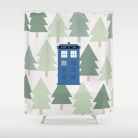 TARDIS Lands In The Paci… Shower Curtain