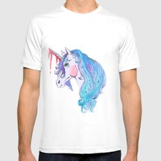 Cabin In the Woods Unicorn White SMALL Mens Fitted Tee