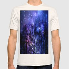 Black Trees purple blue SPACE Mens Fitted Tee Natural SMALL
