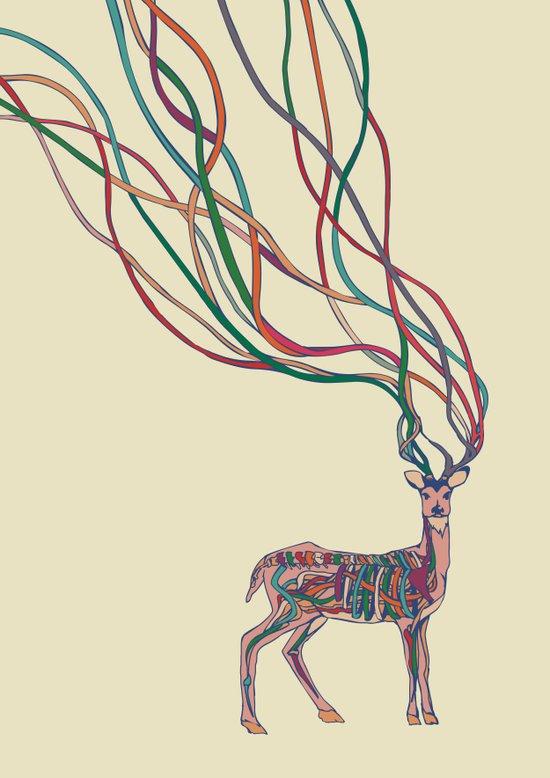 Deer Ribbons Canvas Print