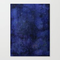 Galaxy Watercolor Texture Night Sky Stars Canvas Print