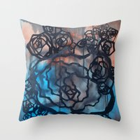 Brick and marine roses Throw Pillow