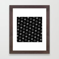 Starfish White on Black Framed Art Print
