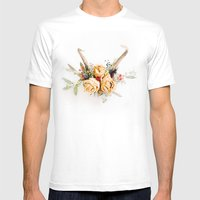 Floral Antlers IV Mens Fitted Tee White SMALL