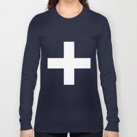 White Plus On Black /// … Long Sleeve T-shirt