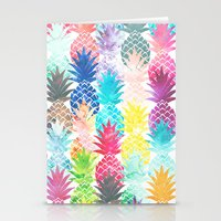 Hawaiian Pineapple Pattern Tropical Watercolor Stationery Cards